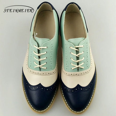 Image of women genuine leather oxford shoes woman flats handmade vintage retro lace up loafers brown casual sneakers flat shoes for women