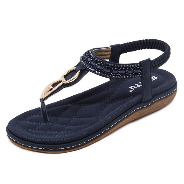 c3b43a5e7c780 Hover to zoom · Shoes woman sandals 2018 string bead flip flop metal  decoration wedge beach ...
