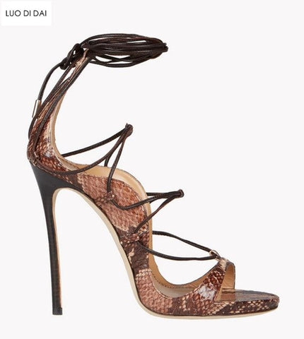 Image of 2018 fashion women lace up sandals snakeskin print leather high heels party shoes gladiator sandals gold sequin leather sandals