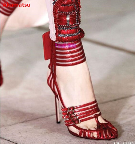 Image of Fashion 2018 Women Runway Sandals Sexy Cut-outs Narrow Band High Heels Dress Pumps Patent Leather Summer Gladiator Shoes Woman