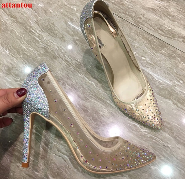 2018 Sexy mesh silver high heels bling bling crystal decor women dress shoes  slip-on pointed toe female stiletto party pumps a848e3728777