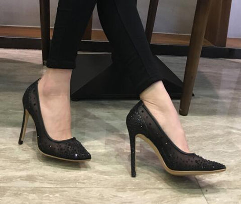 ... Image of 2018 Sexy mesh silver high heels bling bling crystal decor  women dress shoes slip d25df5db45ce