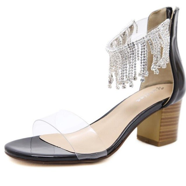 FragrantLily PVC Clear Transparent Women Sandals Sexy Fashion Roman high heels open toe Woman sandals Rhinestone Wedding Shoes