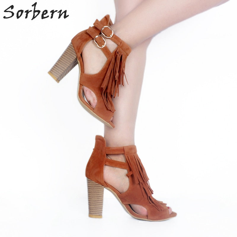 4e35f6de18 Sorbern Brown Tassel Open Toe Ankle Boots For Women Cut Out Side Shoes  Ladies Chunky Heeled. Hover to zoom