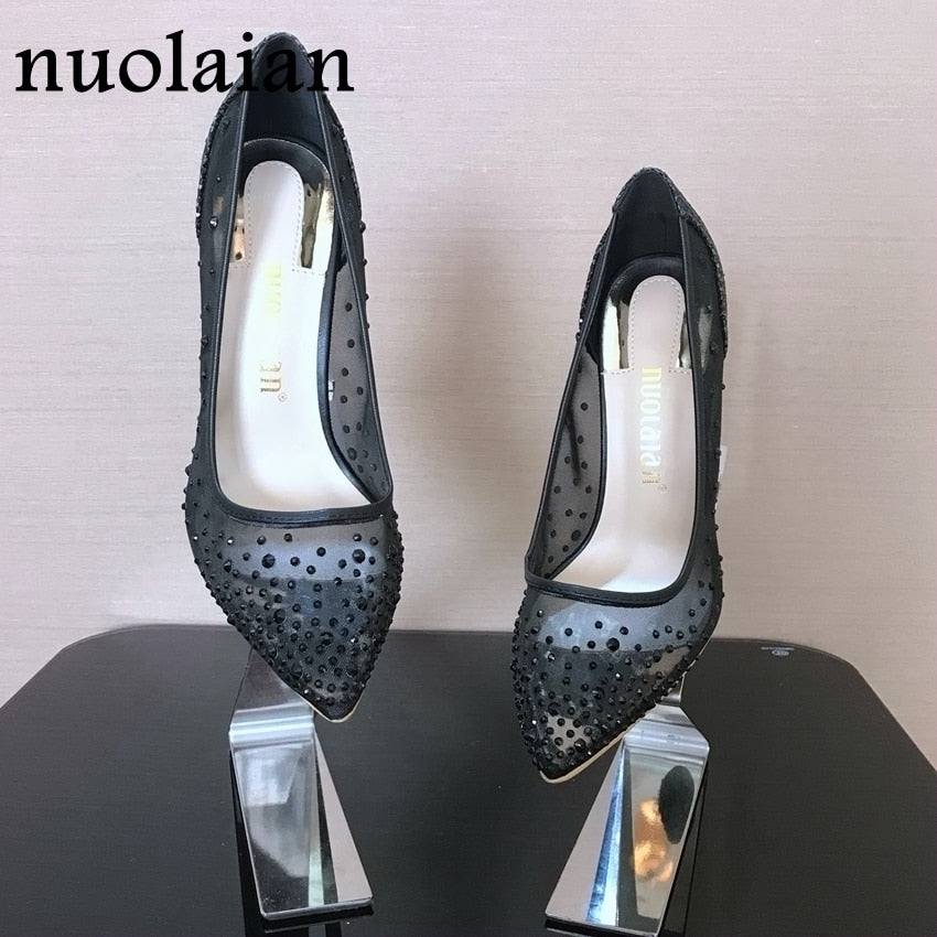 be81892c0a7 10CM Rhinestone Wedding Shoes Woman Crystal High Heels Pointed Toe High  Heel Sandals Shoes Women Pumps. Hover to zoom