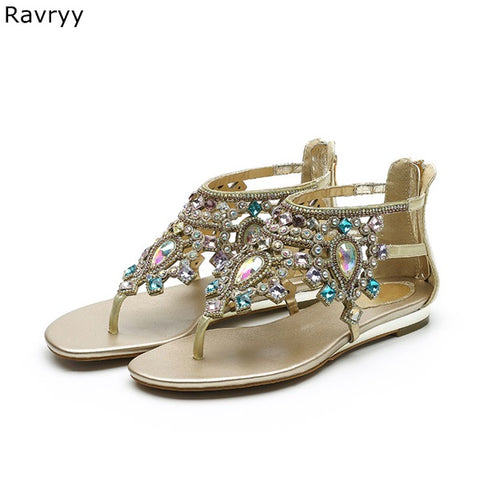 Image of Crystal sandals Summer Flipflop bling bling rhinestone decor ankle strap Women sandals flat shoes female sandbeach dress shoes