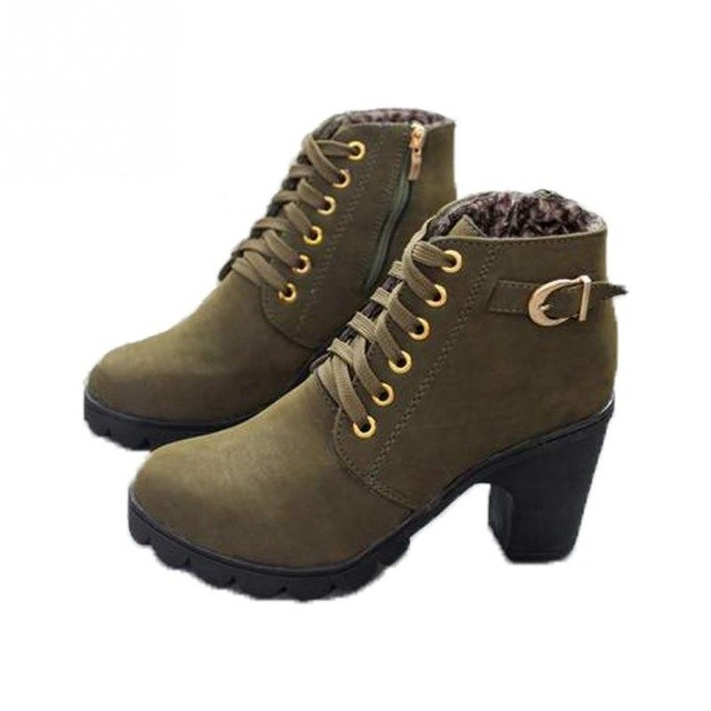 2017 High Fashion Lace Up Side Zipper Shoes High Heel Women Round Toe Anti Slid Sole Buckle Autumn Winter Ankle Boots