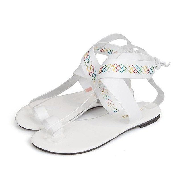 9b147f0bbb38c ... Summer White Flat Heels Sandals Women Lace up Flip Flops. Hover to zoom