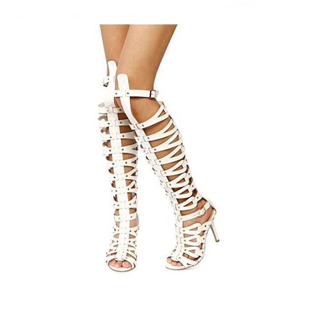 b2ab4cd3a3e0 Hover to zoom · Women Gladiator Sandals High Heels Shoes Women Summer  Buckle Strap Knee Boot for Summer White Black