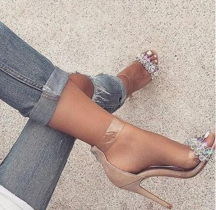 Image of Hot Selling Woman Rhinestone PVC Transparent Stiletto Sandals Crystal Ankle Wrap High Heels Dress Shoes Suede Sexy Dance Shoes
