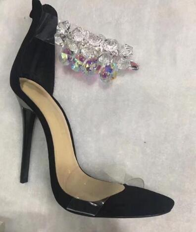 Hot Selling Woman Rhinestone PVC Transparent Stiletto Sandals Crystal Ankle Wrap High Heels Dress Shoes Suede Sexy Dance Shoes