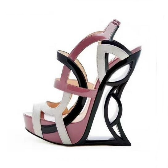 2018 Summer Peep Toe Color Matching Strange Heel Sandals Shoes Mmulti-color Wedge Heels Dress Shoes Cut-out Gladiator Sandals