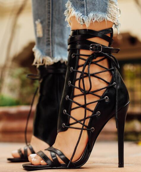 2017 Summer Hot Leather Straps Open Toe Women Lace Up Side Sandal Cut Out Style Ladies Sexy High Heel Ankle Buckle Club Stiletto