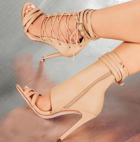 Image of 2017 Summer Hot Leather Straps Open Toe Women Lace Up Side Sandal Cut Out Style Ladies Sexy High Heel Ankle Buckle Club Stiletto