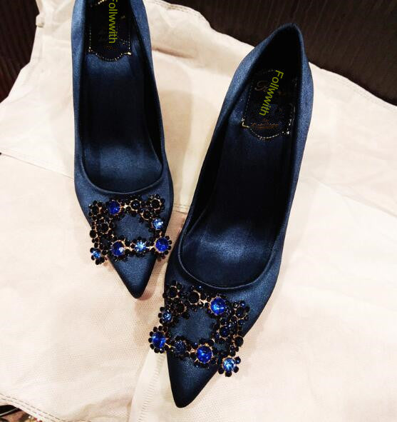 2018 Hot Sales Flowers Crystal Buckle Stud Zapatos Mujer Point Toe Satin Women Pumps 9.5cm High Heels Shoes Woman