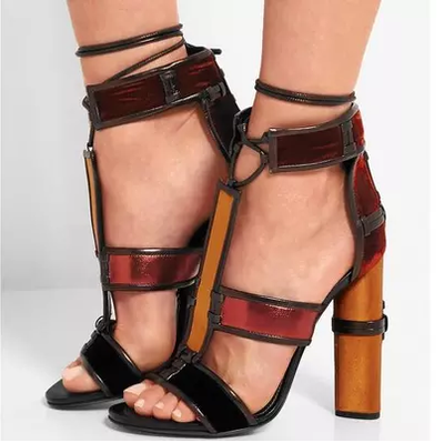 Eunice Choo Sexy Women Cylindrical Chunky High Heels Shoes Summer Patchwork Leather Sandals Lace Up Ankle Strap Women Pumps