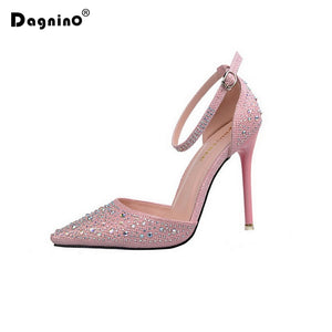 b6bf9350358c DAGNINO Women Pumps Sexy High Heels Shoes Woman Silver Rhinestone Wedding  Shoes Ladies Party Summer Sequins ...