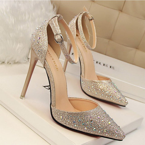 DAGNINO Women Pumps Sexy High Heels Shoes Woman Silver Rhinestone Wedding Shoes Ladies Party Summer Sequins Hight Heels Sandals