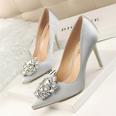 Image of BIGTREE Silver Gray Black Women Bridal Wedding Shoes Faux Silk Satin Rhinestone Crystal Shallow Woman Pumps Stiletto High Heel