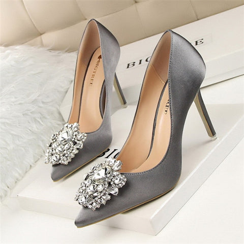 BIGTREE Silver Gray Black Women Bridal Wedding Shoes Faux Silk Satin Rhinestone Crystal Shallow Woman Pumps Stiletto High Heel