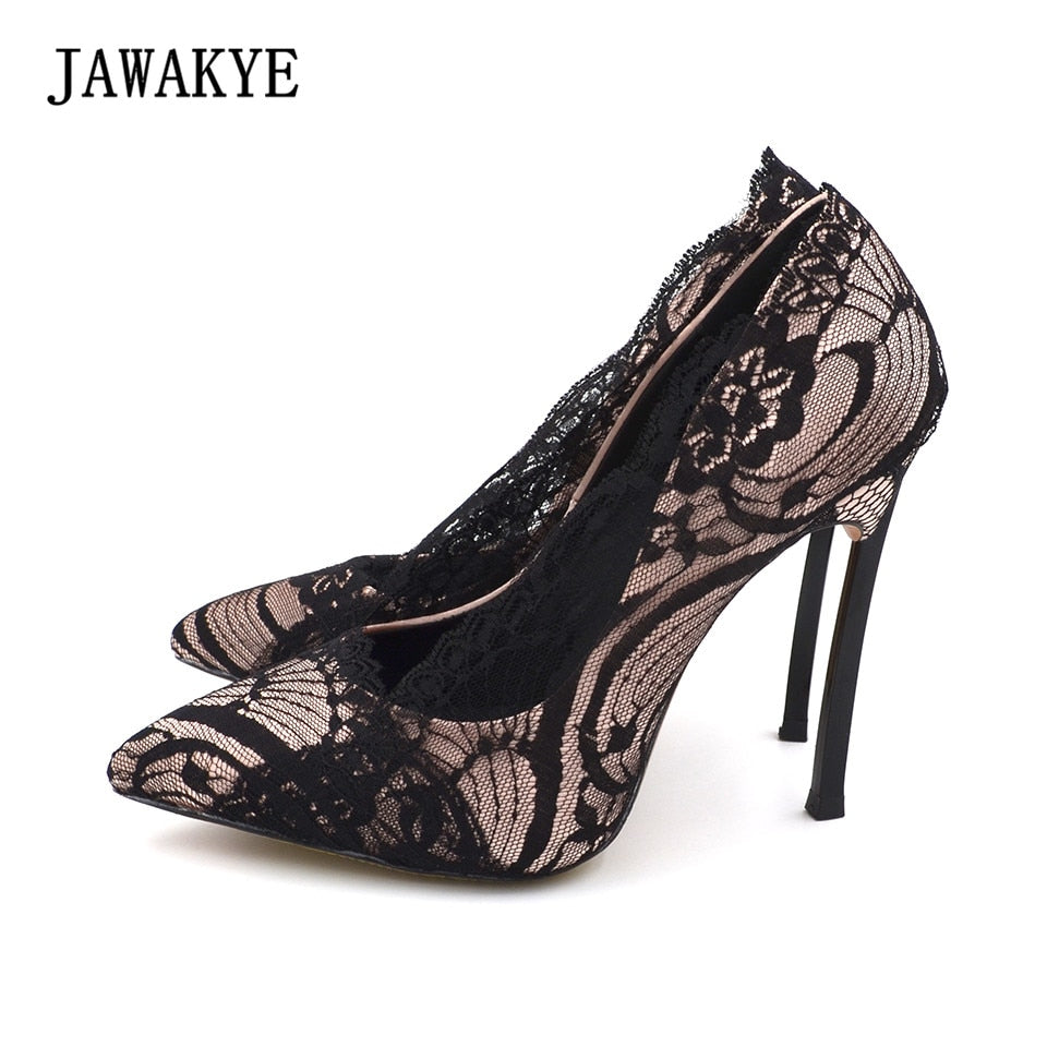 JAWAKYE Black Lace high heels Wedding Shoes Women Pointed toe Metal heels 10CM stiletto Sexy Shallow Lace shoes Women Pumps