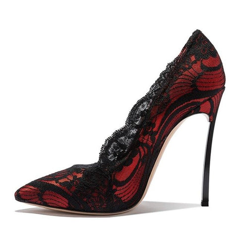 Image of JAWAKYE Black Lace high heels Wedding Shoes Women Pointed toe Metal heels 10CM stiletto Sexy Shallow Lace shoes Women Pumps