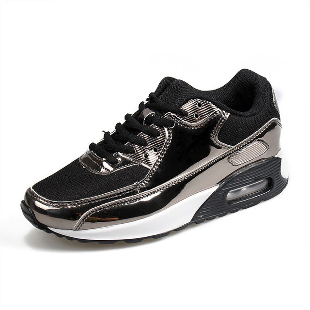 b8fa4f53313e ... Bling Air Cushion Casual Shoes Unisex Height Increase Lace Up. Hover to  zoom