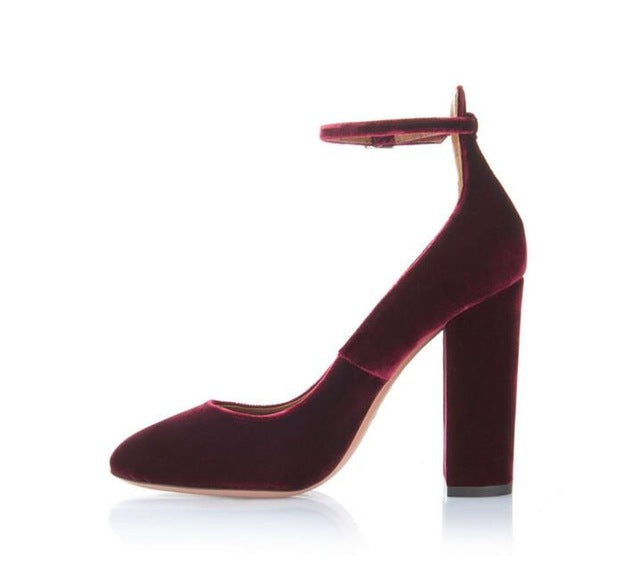 New Arrivals Wine Red Velvet High Heels Pumps For Women Chunky Heels Ankle Strap Spring Autumn Dress Shoes Round Toe High Pumps