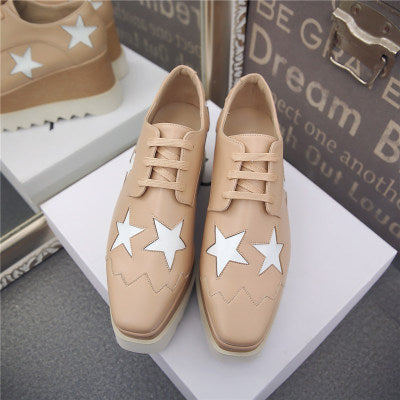 Brand Design Elyse Star Lace-Up Flat Women Causal Shoes Classic Fashion Metallic Leather Platform Oxford Shoes Women