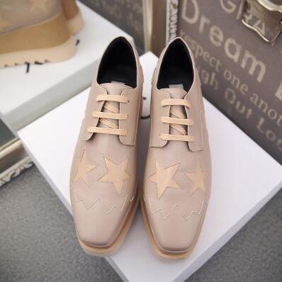 Image of Brand Design Elyse Star Lace-Up Flat Women Causal Shoes Classic Fashion Metallic Leather Platform Oxford Shoes Women
