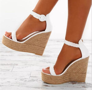 a72836e322c women sexy wedge sandals pumps platform high heels woven PU leather woman  chaussure zapatos mujer ladies ...