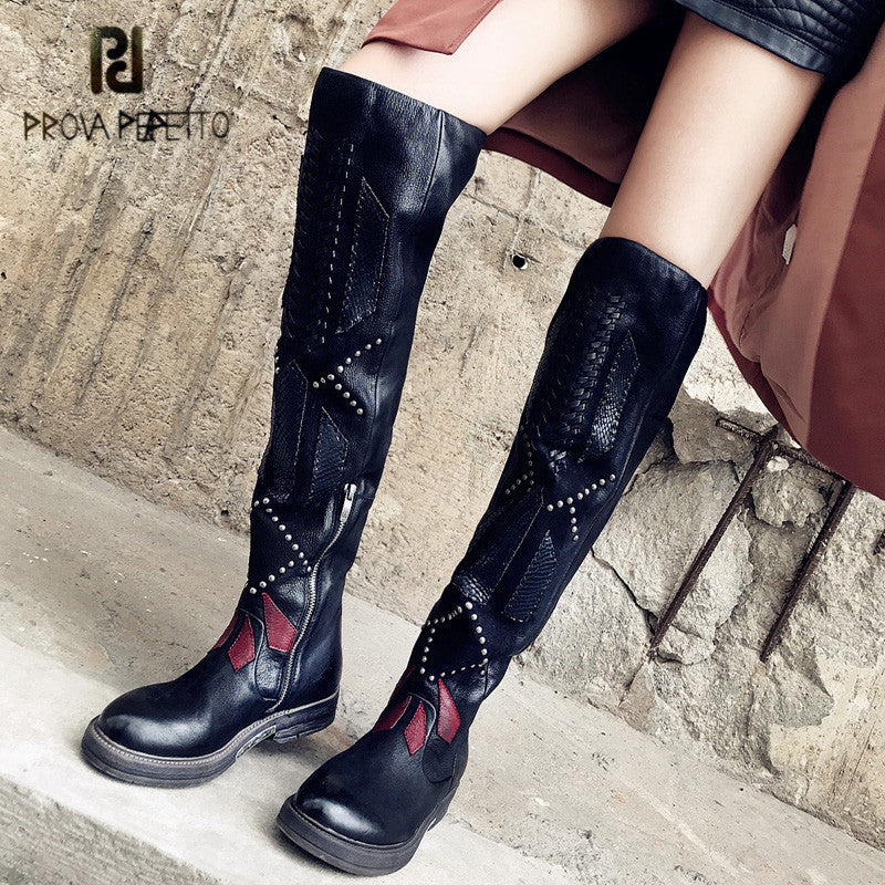 Prova Perfetto 2018 New Patchwork Weave Women Over The Knee Boots Black Thigh High Boots Rivets Studded Platform Flat Boats