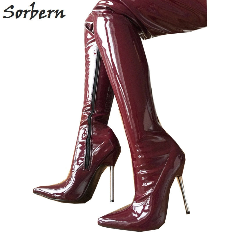 3d777db7c32a Lethal 12cm Silver Metal Heel 60cm Custom Crotch Show Boot Patent ...