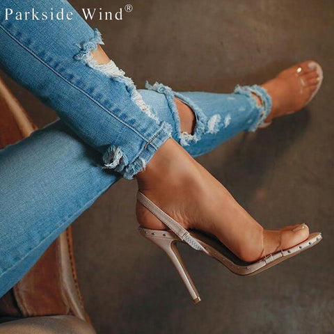 Image of Parkside Wind Fashion High Heels Clear Transparent Bordered Rivet Women Sandals Summer Party Ladies Shoes XWC1865-5