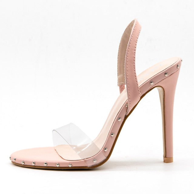 Parkside Wind Fashion High Heels Clear Transparent Bordered Rivet Women Sandals Summer Party Ladies Shoes XWC1865-5