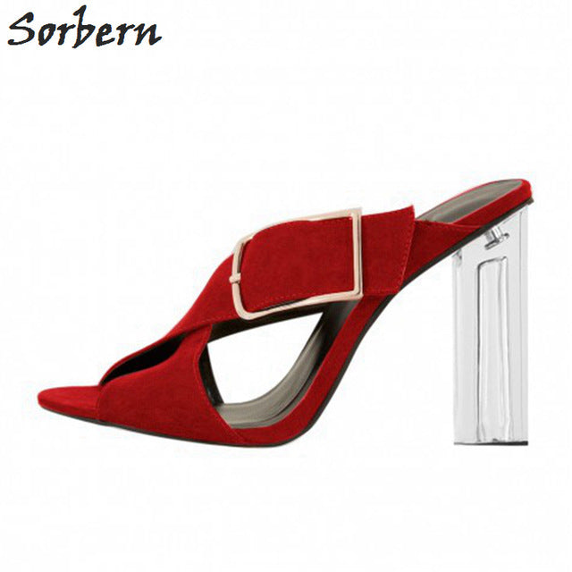 e1a6e0b261 Sorbern Ladies Shoes Pvc Transparent High Heel Mules Slippers Women Sqaure  Heeled Plus Size Open Toe. Hover to zoom