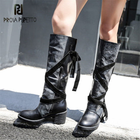 516234f64985 Image of Prova Perfetto Women Knee High Boots Straps Platform Rubber Shoes  Woman Chunky High Heel ...