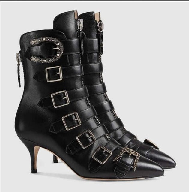 2017 New Hot Fashion Week Style Ankle Boots Runway Pointed Toe Low Heel Leather Buckle Strap Boats Celebrity Party Shoes Woman
