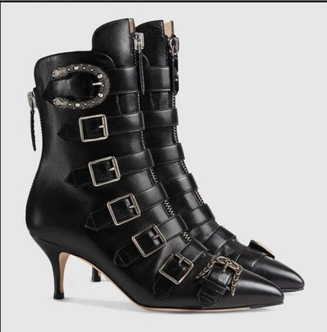 Image of 2017 New Hot Fashion Week Style Ankle Boots Runway Pointed Toe Low Heel Leather Buckle Strap Boats Celebrity Party Shoes Woman