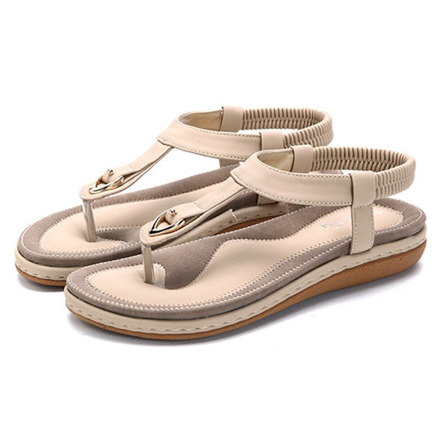 7385e7a949b Socofy Large Size T-strap Beach Sandals Women Summer Shoes Elastic ...