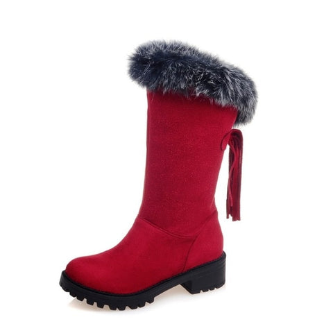 Image of 2017 Winter Boots Russia Warm Large Size 30-52 Women Boots High Quality Thick Snow Patent Winter Shoes Woman Middle Boot X-009