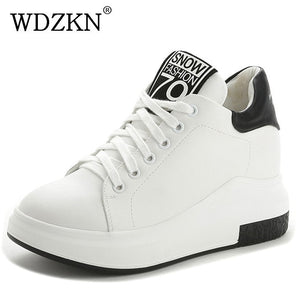 WDZKN Fashion Vulcanize Shoes Women Sneakers  Lace Up Round Toe Women Casual Shoes Ladies Height Increased Platform Shoes H1701