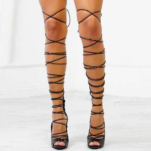 Image of Thigh High Gladiator Lace Strap Up Heels