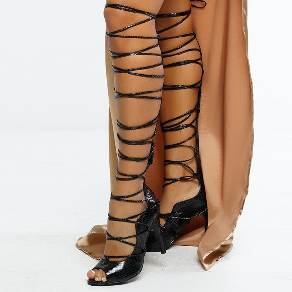 Thigh High Gladiator Lace Strap Up Heels