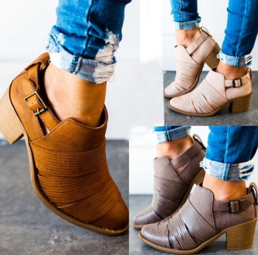0d9277d388 sapato feminino women ankle boots shoes woman chunky mid heels pumps ...