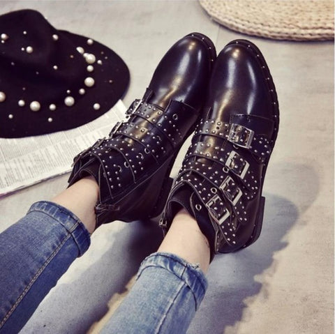 Image of 2017 New Leather Rivets Booties Buckle Straps Thick Heel Black Ankle Boots Studded Decorated Motorcycle woman Boots