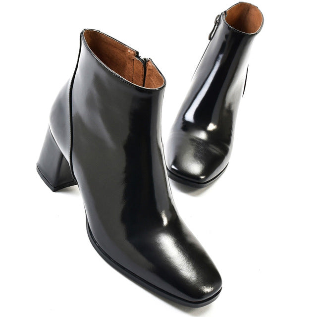 1c41da304a717 Hover to zoom · Ankle boots for women genuine leather ladies zip boots  chelsea women black brown square toe square
