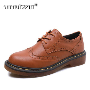 Shehuimei Women Brogue Oxford Shoes Moccasins Genuine Leather Flats Shoes For Women Plus Size 43 Designer Vintage Casual Shoes