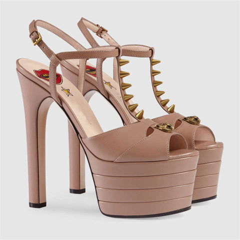 Image of Summer Designer Sexy Party Platform Sandals Women 2018 New Rivet Peep Toe High Heels Shoes Female Ladies Luxury European Pumps
