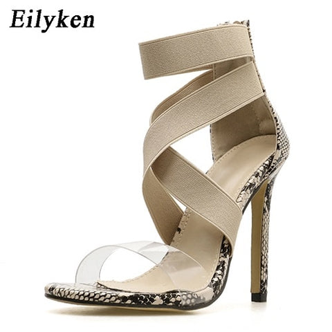 Image of Eilyken Stretch Fabric Women Sandals Gladiator Ankle-Wrap High Heels Shoes Fashion Summer Ladies Party Pumps Shoes Black Apricot